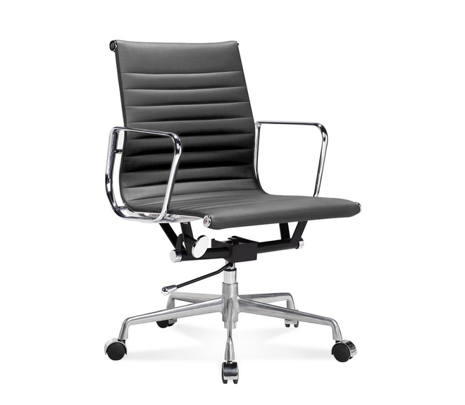 Ea 117 eames half height office chair with ribbed leather for Eames ea 117 replica
