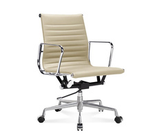EA 117 - Eames Half-Height Office Chair with ribbed leather