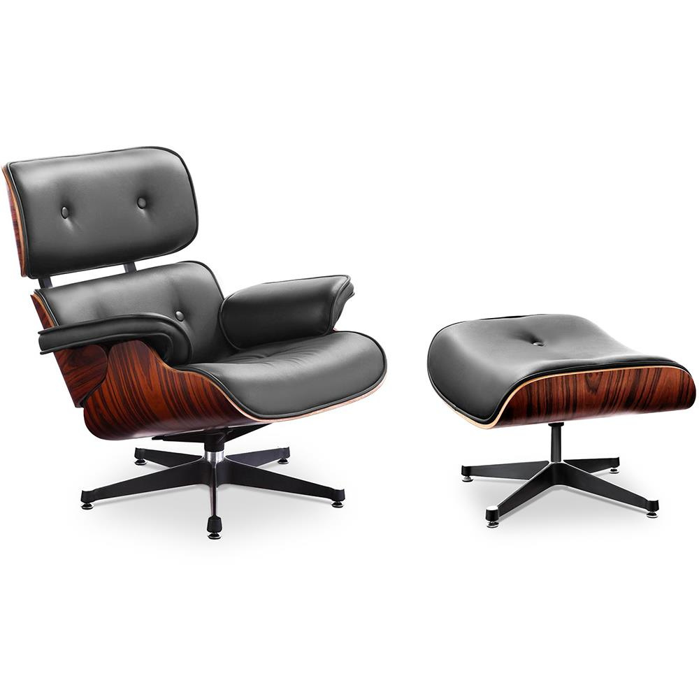 xl version charles and ray eames eames lounge chair mit ottoman und. Black Bedroom Furniture Sets. Home Design Ideas