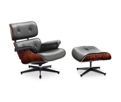 (XL version) Charles and Ray Eames Lounge Chair with high...